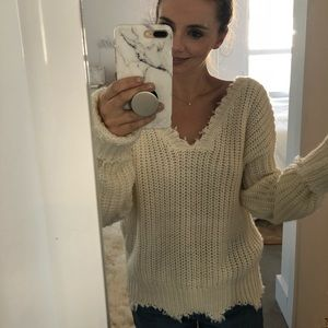 Sweaters - Cream distressed sweater